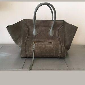 Celine Grey Suede Phantom Luggage Tote Large